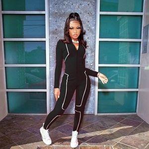 Black Bodycon Reflective Jumpsuit